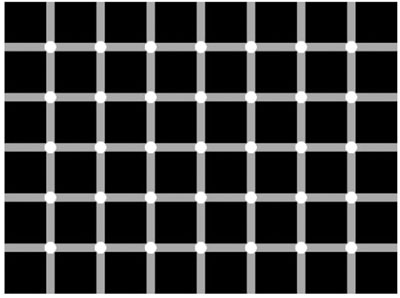 Optical illusion of squares with circles in middle