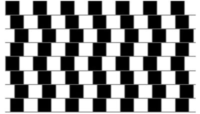 Optical Illusion of parallel lines in a grid