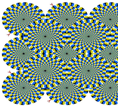 Optical illusion of many spirals moving