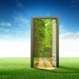 Doorway in a field opened