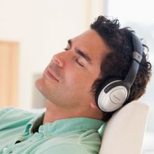 Man with headphones listening