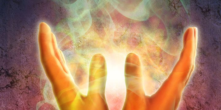 Illustration of hands radiating energy